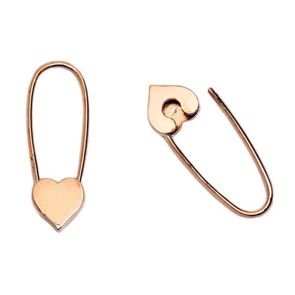 Loren stewart mini heart safety pin earrings