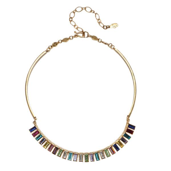 Sequin rainbow baguette choker necklace