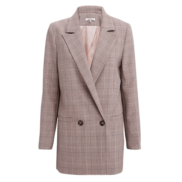 Ganni suiting silver pink plaid jacket