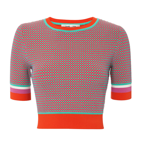Dvf short sleeve cropped crew neck sweater