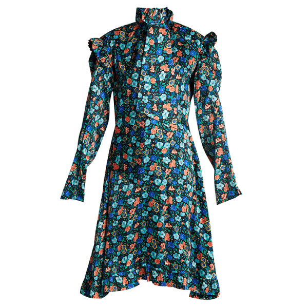 Vetements floral print tie neck dress