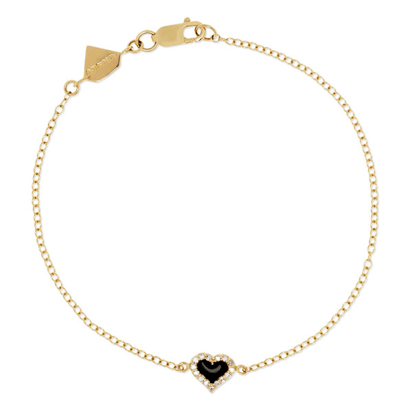 Alison lou 14k gold  diamond and enamel bracelet