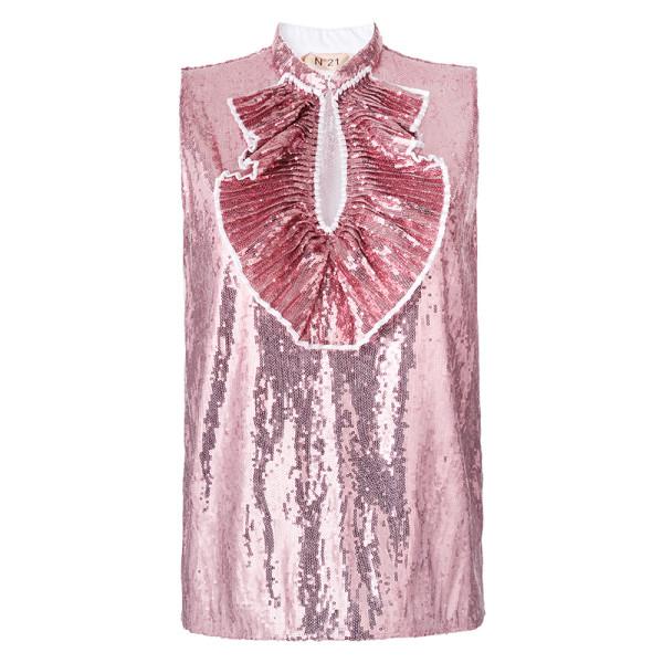N21 sequin embellished pleated bib top