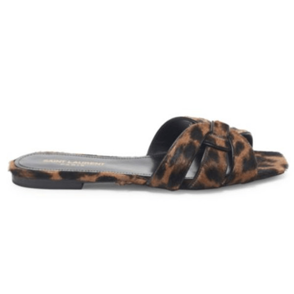 Saint laurent  nu pieds leopard print calf hair slide sandals