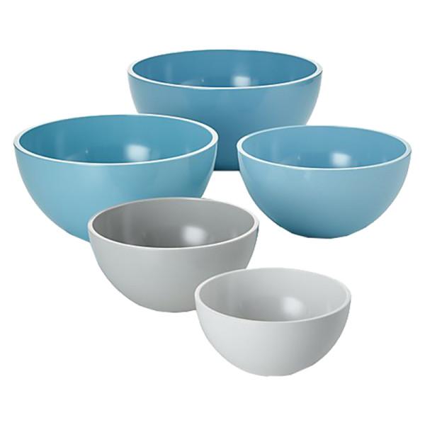 Crate   barrel marlo aqua melamine bowls  set of 5