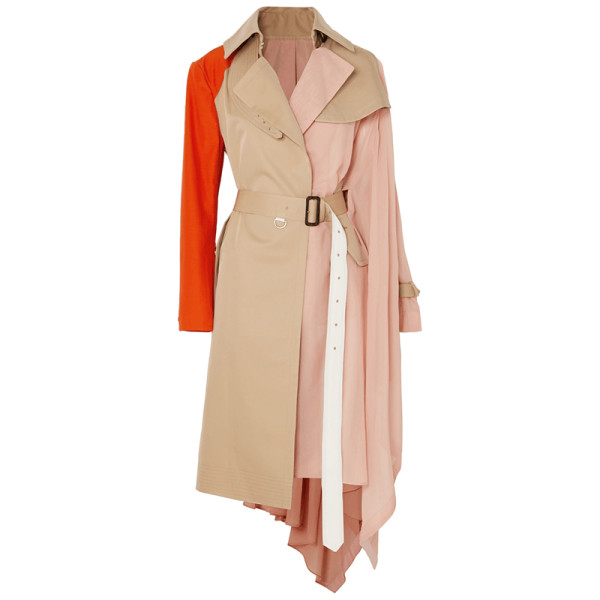 Sacai chiffon side colorblocked belted trench coat