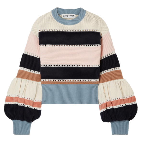 Self portrait striped ribbed sweater