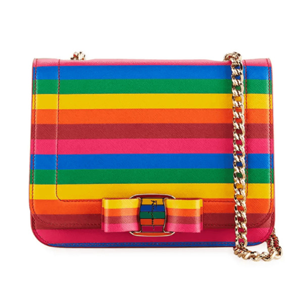 Salvatore ferragamo vara rainbow crossbody bag