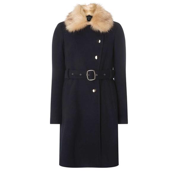 Dorothy perkins faux fur collar belted coat