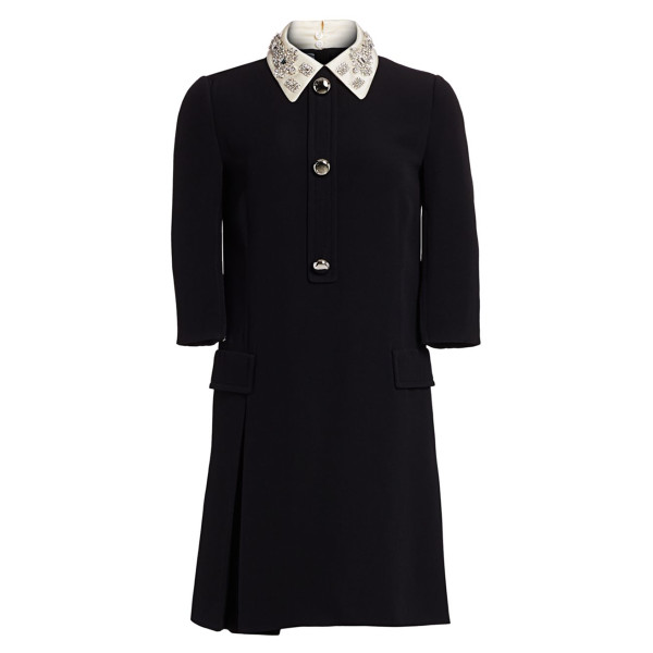 Prada prada satin embroidered 1 2 sleeve cady dress