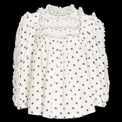 Ulla johnson bailey polka dot lace yoke blouse
