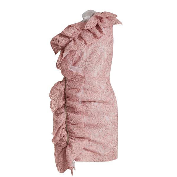 Msgm one shoulder ruffled lace mini dress