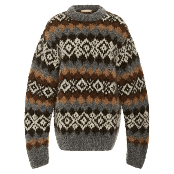 Michael kors collection hand knit fair isle alpaca blend pullover