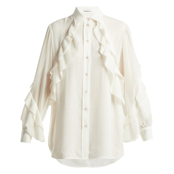 Givenchy pleat detailed silk blend blouse