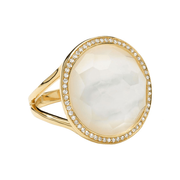 Ippolita small diamond bezel mother of pearl lollipop ring
