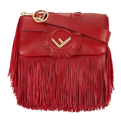 Fendi red baguette fringed shoulder bag