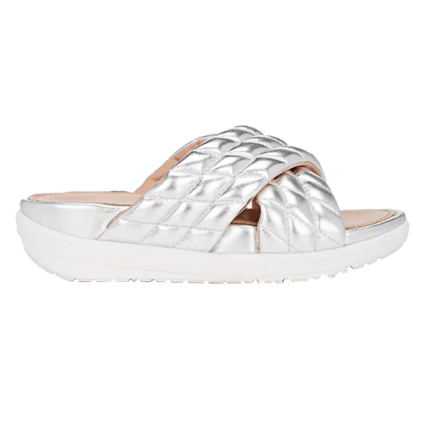 37f33d57619f Fitflop Limited Edition - Quilted Metallic Leather Slide Sandals ...