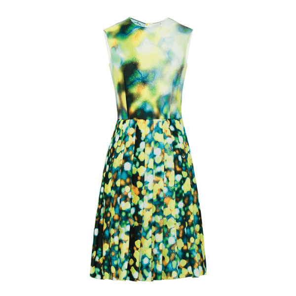 Prada sleeveless jewel neck a line abstract print dress