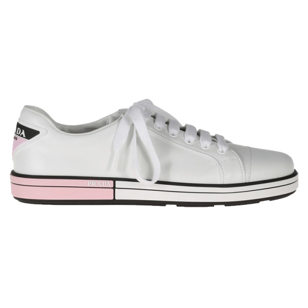 Prada leather low top sneakers with two tone heel