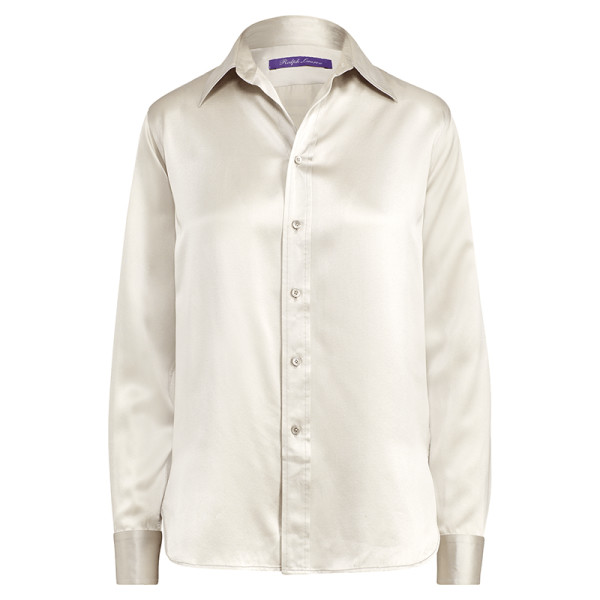 Ralph lauren collection bacall button front long sleeve silk blouse