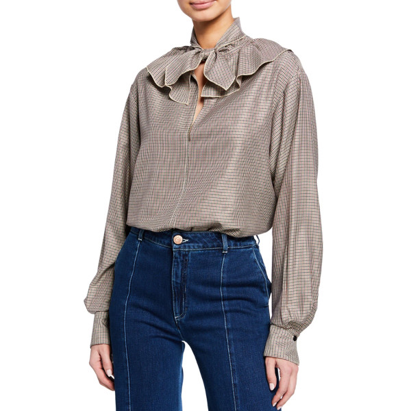 See by chloe tie neck ruffle check long sleeve blouse