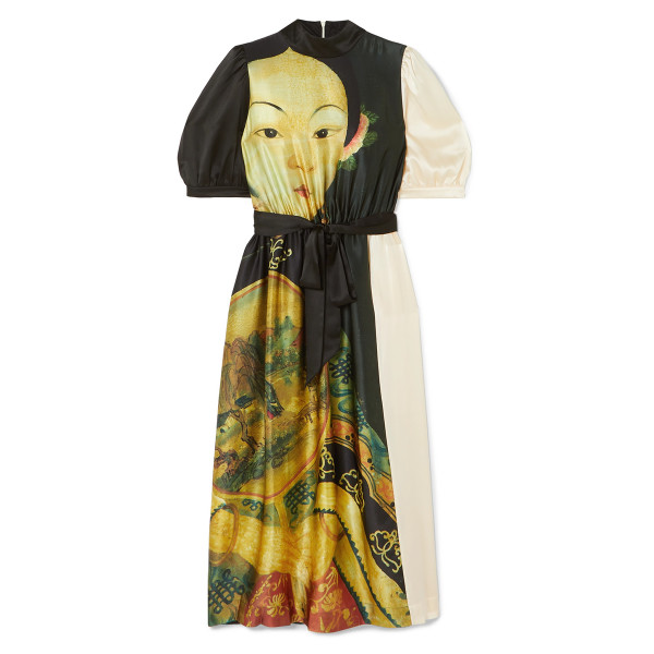 Simone rocha portrait print silk midi dress with pockets