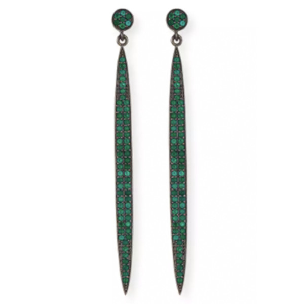 Margo morrison pave   green onyx spear earrings