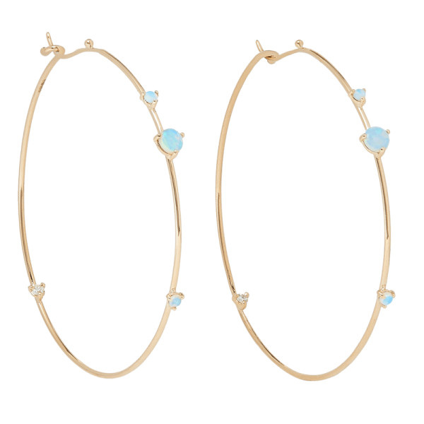 Wwake 14 kt gold  opal and diamond hoop earrings