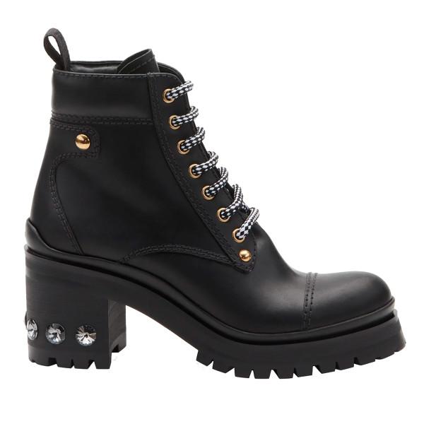 Miu miu lace up leather lug sole hiker boots