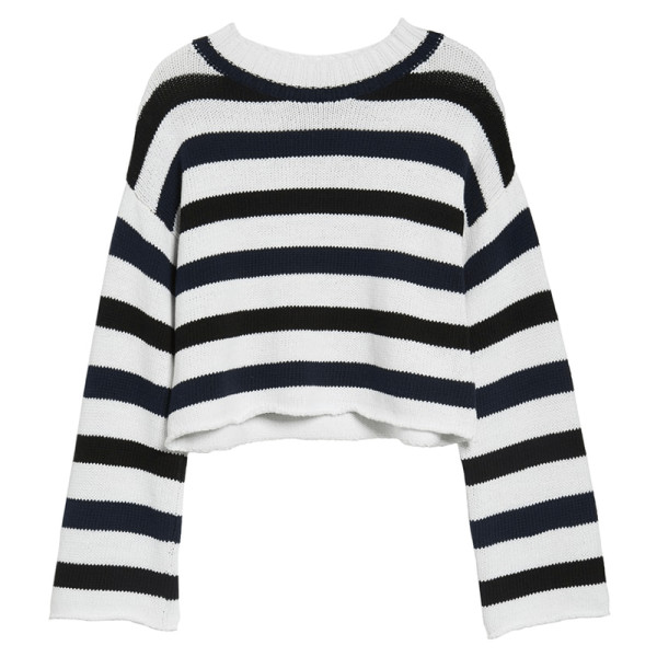 Kenneth cole wide stripe crop sweater