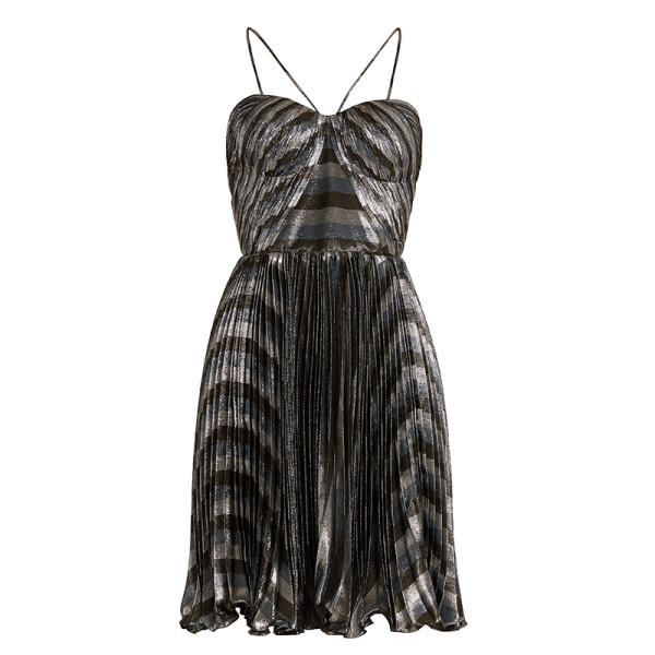 Maria lucia hohan gaia striped pleated lame   mini dress