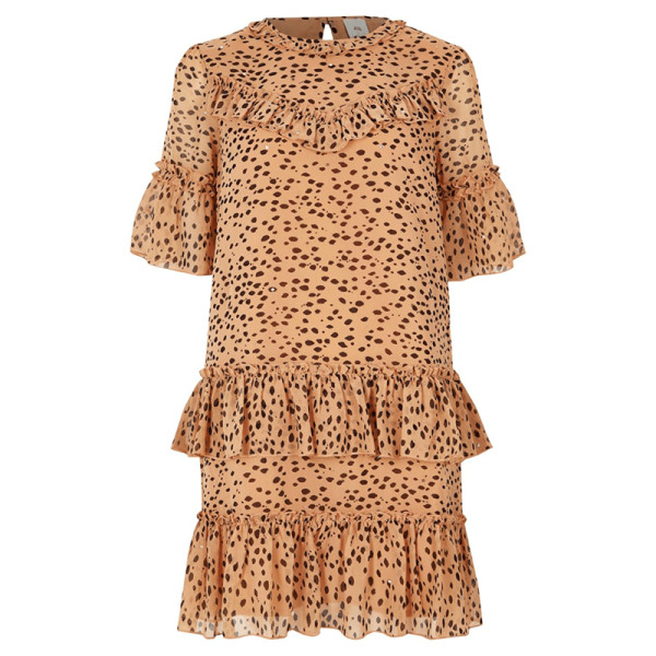 River island beige leopard print sequin swing dress