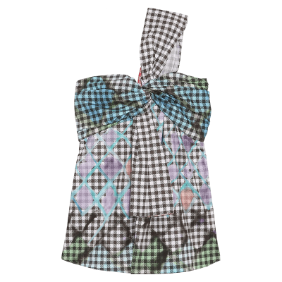 Peter pilotto printed one shoulder cotton blend gingham top