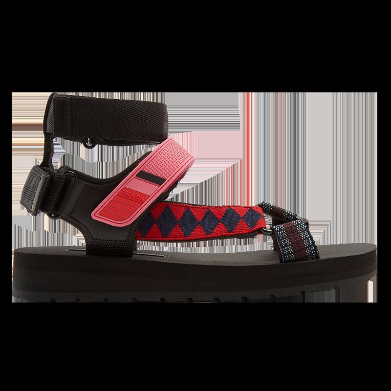 Linea Printed Velcro-Strap Sandals