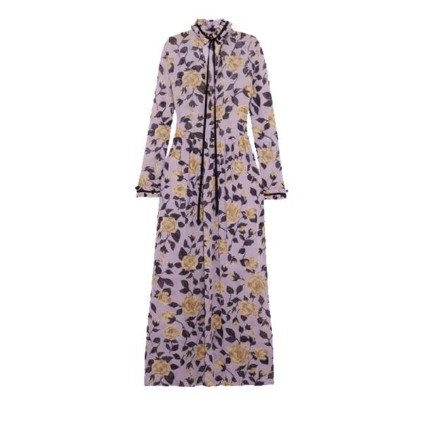 ce42d3724bc Ganni - Carlton Pussy-Bow Floral-Print Georgette Maxi Dress