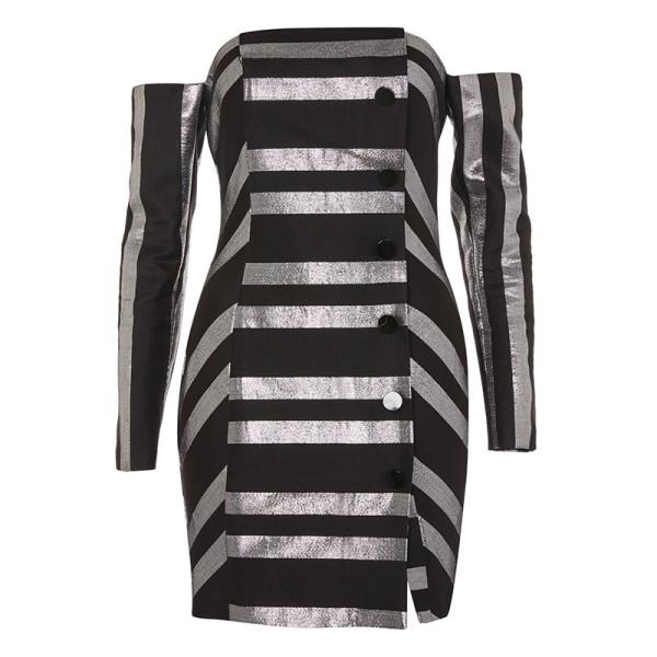 Topshop button front striped mini bardot dress