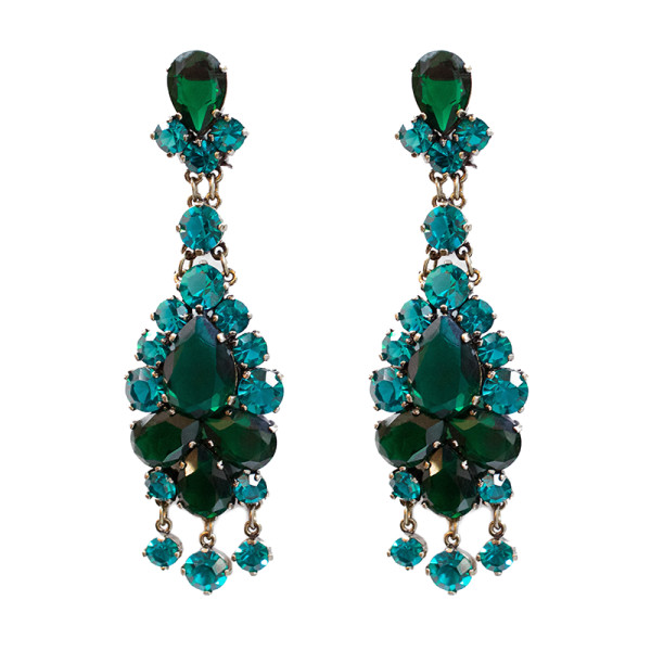 Sequin glass and crystal statement earrings