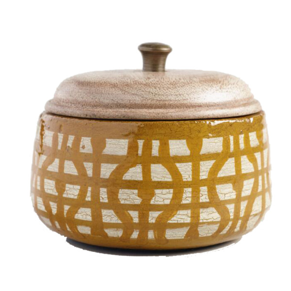 World market geometric soleil terracotta filled candle
