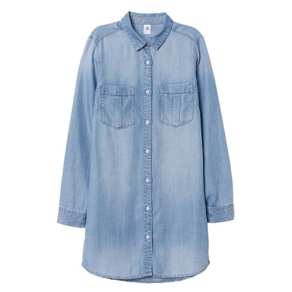 H m long denim shirt