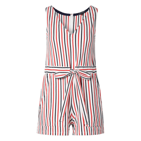 Mds stripes amanda striped cotton jersey playsuit