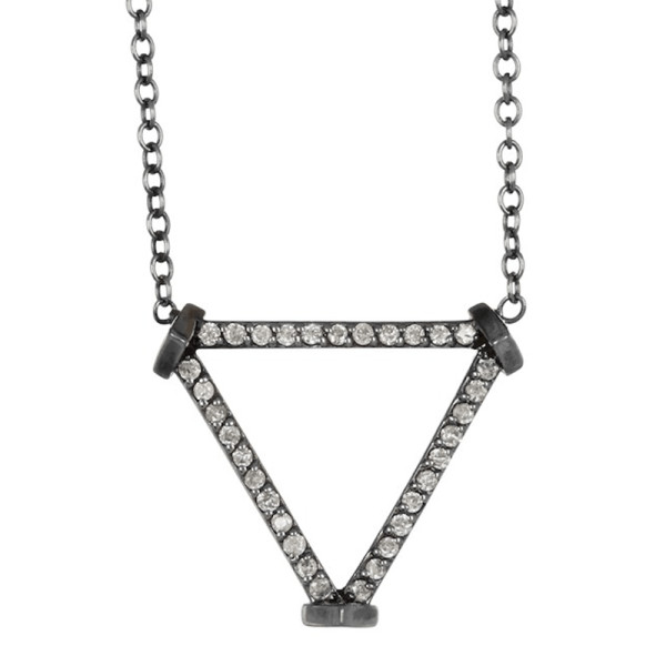 Paige novick 14k white gold plated black rhodium open triangle diamond pave pendant necklace   0.2 ctw