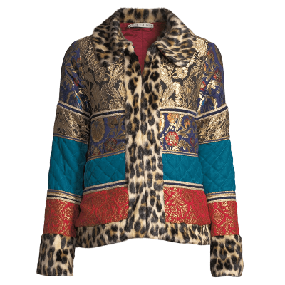 Alice   olivia glennie patchwork coat w  leopard faux fur combo