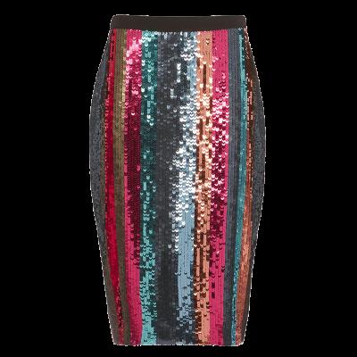 Tanya taylor samia sequin striped pencil skirt