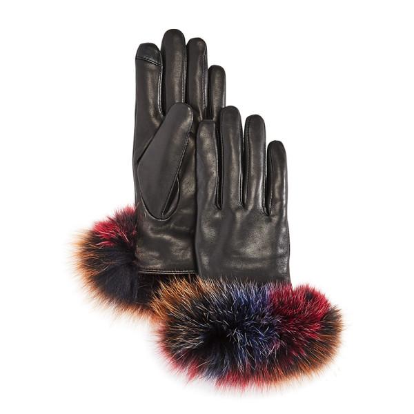 Echo fox fur trim leather tech gloves