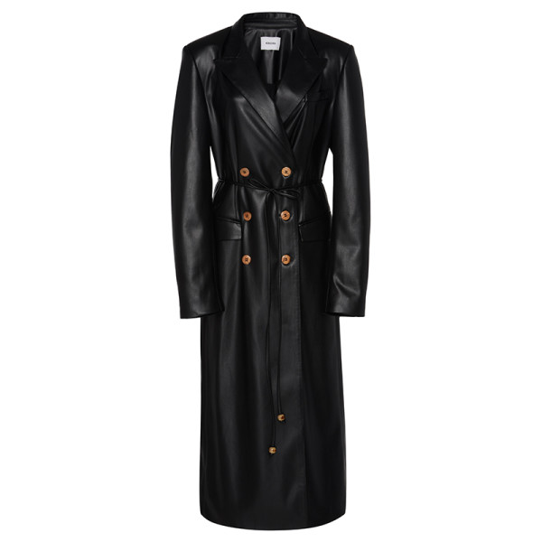 Nanushka manila faux leather trench coat