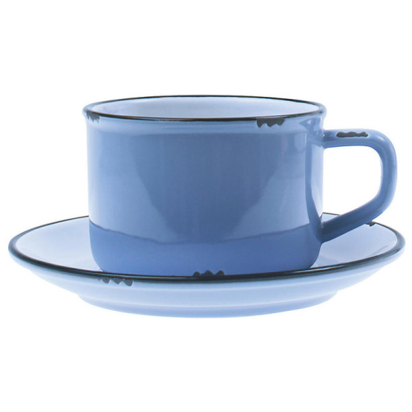 Canvas tinware cup   saucer  blue