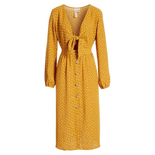 Mimi chica polka dot tie front midi dress