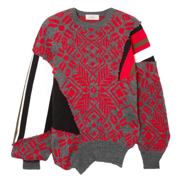 Preen by thornton bregazzi vera paneled intarsia wool blend sweater