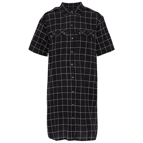 Current elliot checked textured cotton blend mini shirt dress