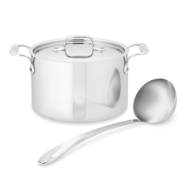 All clad d3 tri ply stainless steel soup pot with ladle  4 qt.
